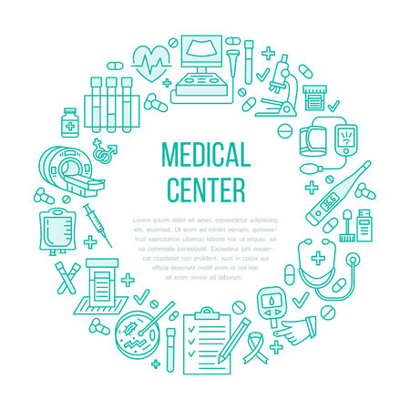 check icon: Medical poster template. Vector line icon, illustration of health check up center. Equipment - mri, cardiogram, glucometer, doctor, ultrasound, blood test. Healthcare banner design.