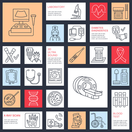 checkup: Vector thin line icon of medical equipment, research. health check-up, test elements - MRI, xray, glucometer, blood pressure, laboratory. Linear pictogram with editable stroke for clinic, hospital.