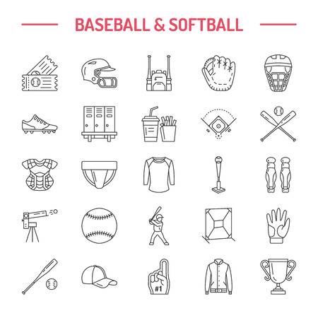 Baseball, softball sport game vector line icons. Ball, bat, field, helmet, pitching machine, catcher mask. Linear signs set, championship pictograms with editable stroke for event, equipment store. Illustration