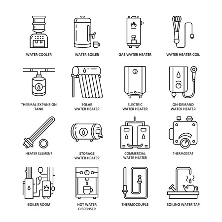 Water heater, boiler, thermostat, electric, gas, solar heaters and other house heating equipment line icons. Thin linear pictogram for hardware store. Household appliances signs.