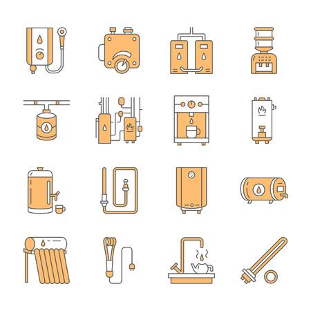 Nagrzewnica wodna, kocioł, termostat, elektryczny, gazowy, słoneczny grzejnik i inne urządzenia do ogrzewania domów. Cienki piktogram liniowy dla magazynu sprzętu. Znaki urządzeń gospodarstwa domowego.