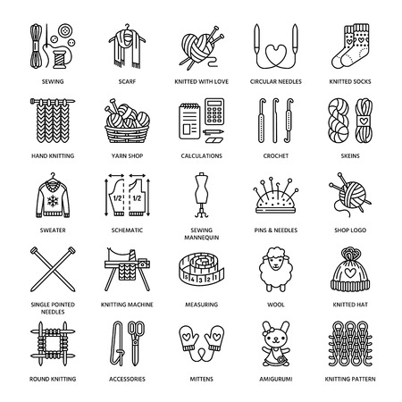 Knitting, crochet, hand made line icons set. Knitting needle, hook, scarf, socks, pattern, wool skeins and other DIY equipment. Linear signs set, logos with editable stroke for yarn or tailor store. Vettoriali