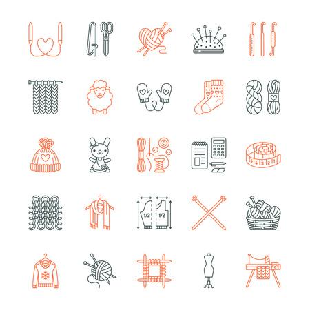 Breien, haken, met de hand gemaakt lijn iconen set. Breinaald, haak, sjaal, sokken, patroon, wol strengen en andere doe-het-apparatuur. Lineaire borden set, logo's met bewerkbare slag voor garen of maat te slaan.
