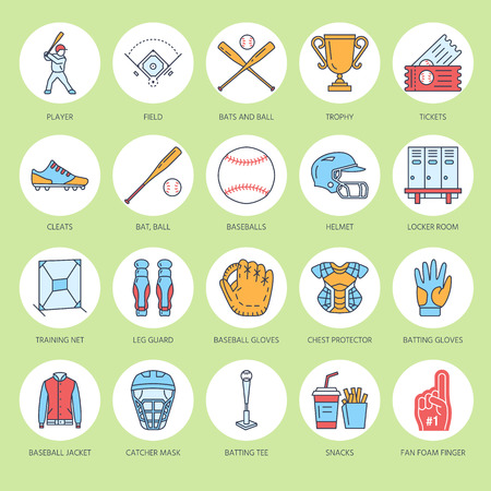 Baseball, softball sport game vector line icons. Ball, bat, field, helmet, pitching machine, catcher mask. Linear signs set, championship pictograms for event equipment store Illustration