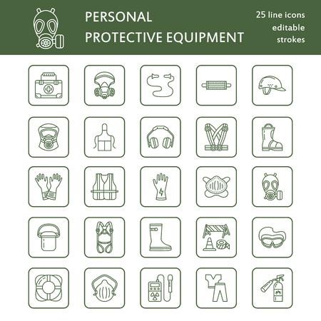個人用保護具行のアイコン。防毒マスク、リング ブイ、人工呼吸器、バンプ キャップ、耳栓、安全作業衣服。健康保護薄い線形兆候。