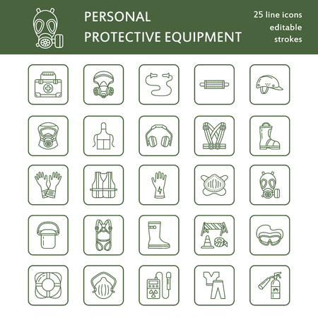 Personal protective equipment line icons. Gas mask, ring buoy, respirator, bump cap, ear plugs and safety work garment. Health protection thin linear signs. Illustration