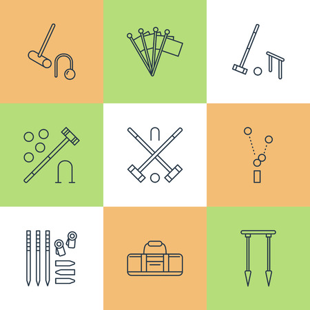 hoops: Croquet sport game vector line icons. Ball, mallets, hoops, pegs, corner flags. Garden, lawn activities signs set, championship pictograms with editable stroke for club, equipment store.