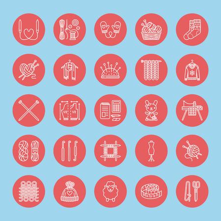 Stricken, Häkeln, Handgemachte Banner Abbildung. Vector Line Icon ...