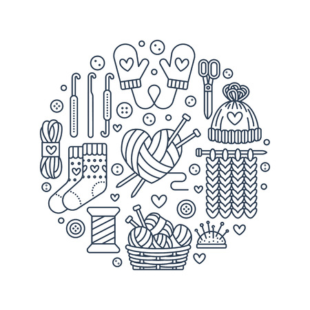 Knitting, crochet, hand made banner illustration. Vector line icon knitting needle, hook, scarf, socks, pattern, wool skeins and other DIY equipment. Yarn or tailor store template. Reklamní fotografie - 71424158