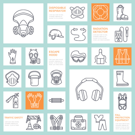 Personal protective equipment line icons. Gas mask, ring buoy, respirator, bump cap, ear plugs and safety work garment. Health protection thin linear signs. Çizim