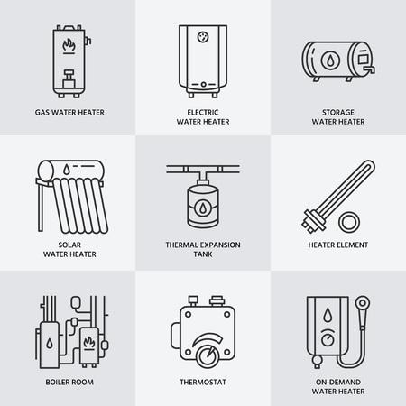 podgrzewacz wody, kocioł, elektryczne, gazowe, podgrzewacze solarne i inne urządzenia liniowe ikony dom ogrzewania. Cienki piktogram liniowa dla sklepu komputerowego. AGD znaki.