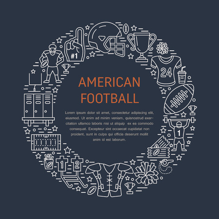 bannière football: American football banner with line icons of ball, field, player, whistle, helmet and other sport equipment. Vector circle illustration for championship poster. Illustration