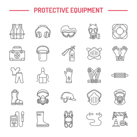 safety googles: Personal protective equipment line icons. Gas mask, ring buoy, respirator, bump cap, ear plugs and safety work garment. Health protection thin linear signs. Illustration
