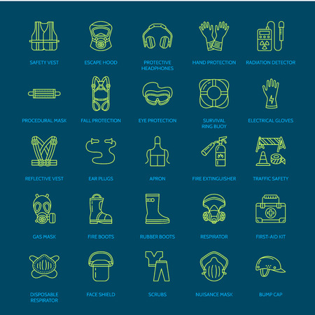 Personal Protective Equipment Line Icons. Gas Mask, Ring Buoy,.. Royalty Free Cliparts, Vectors, And Stock Illustration. Image 70679318. Personal protective equipment line icons. Gas mask, ring buoy,.. - 웹