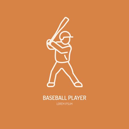 softball player: Baseball, softball player vector line icon. Bats and ball logo, equipment sign. Sport competition illustration.