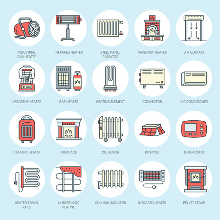 patio set: Oil heater, fireplace, convector, panel column radiator and other house heating appliances line icons. Home warming thin linear pictogram such as kotatsu, Russian oven. Equipment store signs.