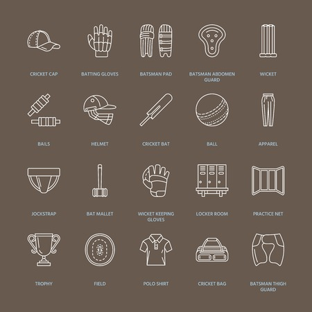 bails: Vector line icons of cricket sport game. Ball, bat, wicket, helmet, batsman gloves. Linear signs set, championship pictograms with editable stroke for event, equipment store.