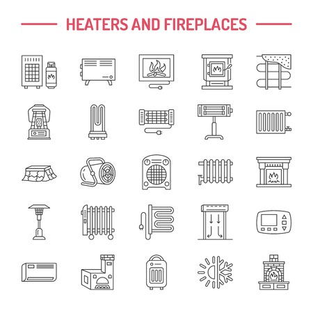 Water boiler, thermostat, electric gas solar heaters and other house heating appliances line icons. Thin linear pictogram. Equipment store signs. Stock Illustratie