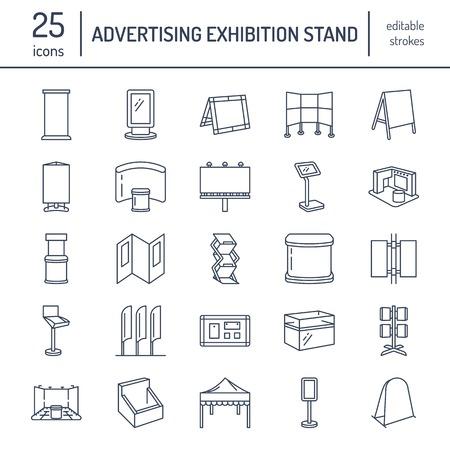 Stojaki reklamowe wystawiennicze, ikony linii wyświetlania. Broszury, tablice wyskakujące, flaga łukowa, tablice reklamowe składane i inne elementy projektu promocyjnego. Obiekty handlowe cienkie znaki liniowe. Ilustracje wektorowe