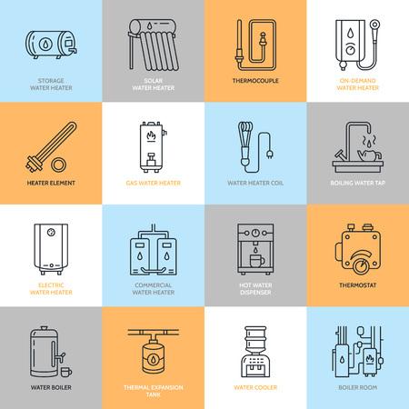 Boiler, boiler, thermostaat, elektrische, gas, zonneboilers en andere huis verwarmingstoestellen lijn iconen. Dunne lineaire pictogram met bewerkbare slagen voor ijzerhandel. Huishoudelijke apparaten borden. Stock Illustratie