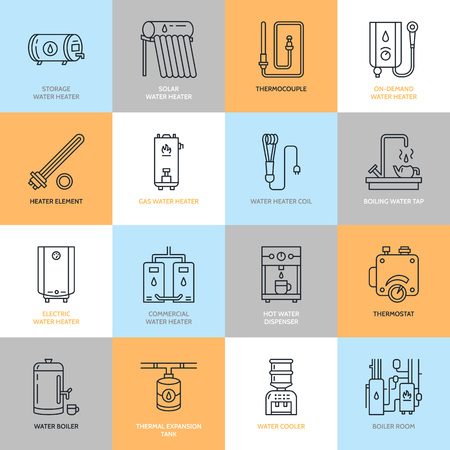 cold room: Water heater, boiler, thermostat, electric, gas, solar heaters and other house heating equipment line icons. Thin linear pictogram with editable strokes for hardware store. Household appliances signs. Illustration