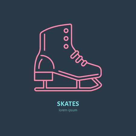 skating on thin ice: Vector thin line icon of skates. Winter recreation equipment rent logo. Outline symbol of figure skating. Cold season activities, ice rink sign.