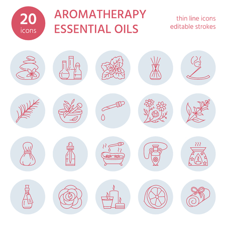 smells: Modern vector line icons set of aromatherapy and essential oils. Elements - diffuser, burner, spa candles, incense sticks. Linear pictogram with editable strokes for aroma therapy massage salon.