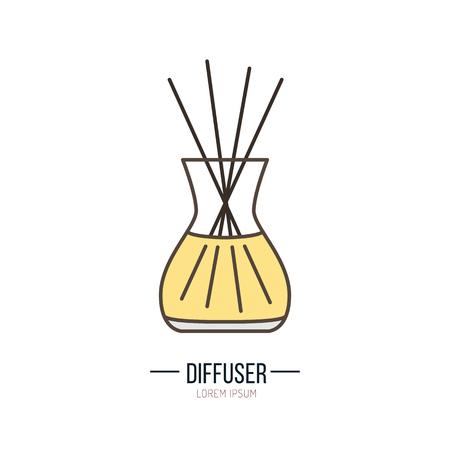 Moderne Vektor-Symbol der Diffusor. Ätherische Öle Shop lineares Logo. Nettes Symbol für Aromatherapie speichern. Elemente - Öl, Stick, Aroma.