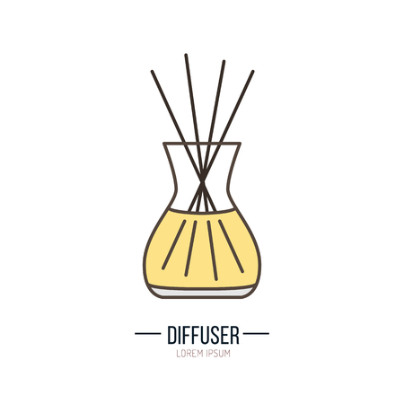 Modern vector icon of diffuser. Essential oils shop linear logo. Cute symbol for aromatherapy store. Elements - oil, stick, aroma.