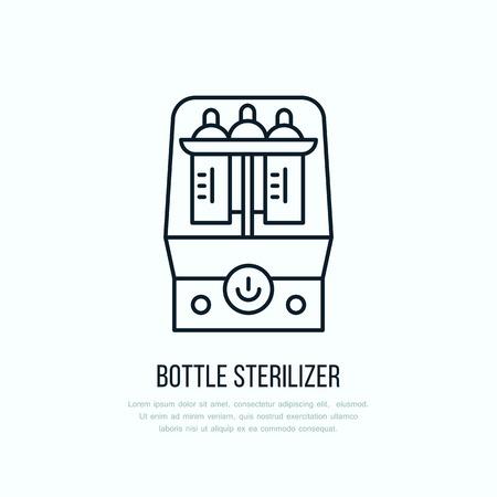 Modern vector line icon of bottle sterilizer. Linear illustration of empty baby bottle sterilizing. Outline infant food symbol. Healthy breast feeding, milk bottle wash. Clean flask bath. Ilustrace