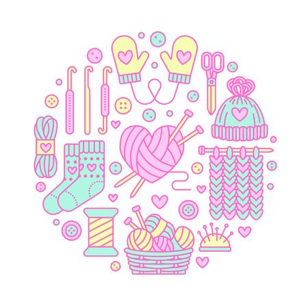 Tricot, crochet, illustration de bannière à la main. Icône de ligne vectorielle tricotant l'aiguille, le crochet, l'écharpe, les chaussettes, le motif, les écheveaux en laine et d'autres équipements de bricolage. Modèle de fils ou de tailleur. Banque d'images - 70973330
