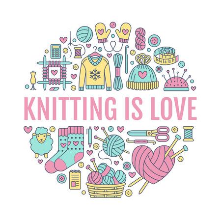 編み、かぎ針編み、作られたバナー イラストを手します。ベクトル線アイコン編む針、フック、スカーフ、靴下、パターン、ウールかせ、その他 DIY
