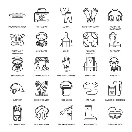Personal protective equipment line icons. Gas mask, ring buoy, respirator, bump cap, ear plugs and safety work garment. Health protection thin linear signs. Vectores