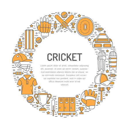 bails: Cricket banner with line icons of ball, bat, field, wicket, helmet, apparel and other equipment. Vector circle illustration for sport championship poster.