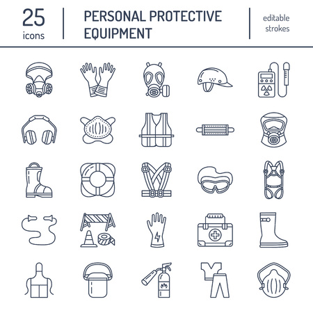 safety buoy: Personal protective equipment line icons. Gas mask, ring buoy, respirator, bump cap, ear plugs and safety work garment. Health protection thin linear signs. Illustration