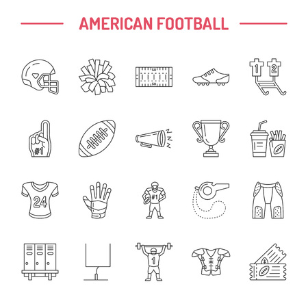 american football helmet collection: Vector line icons of american football game. Elements - ball, field, player, helmet, bullhorn. Linear signs set, football championship pictogram with editable stroke for sport event, fan store.