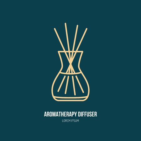 aroma: Vector line icon of aromatherapy diffuser, simple silhouette for spa salon. Essential oils shop linear logo. Illustration