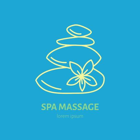hot stone massage: Modern vector line icon of hot stone thai massage. Spa salon service linear logo.