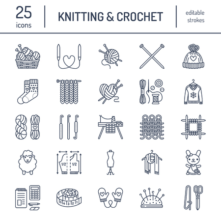 Knitting, crochet, hand made line icons set. Knitting needle, hook, scarf, socks, pattern, wool skeins and other DIY equipment. Linear signs set, logos with editable stroke for yarn or tailor store. Иллюстрация