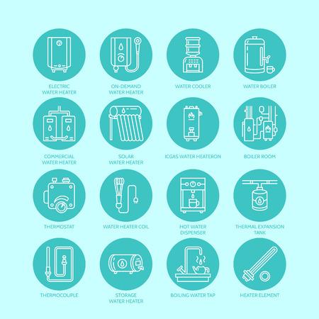 Verwarming, water boiler, thermostaat, elektrische, gas, zonneboilers en andere huis verwarmingstoestellen lijn iconen. Dunne lineaire pictogram met bewerkbare slagen voor ijzerhandel. Huishoudelijke apparaten borden.