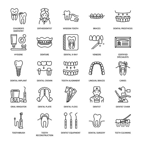 Dentist, orthodontics line icons. Dental care equipment, braces, tooth prosthesis, veneers, floss, caries treatment and other medical elements. Health care thin linear signs for dentistry clinic.