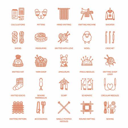 Hacer punto, ganchillo, establece hechos a mano iconos de líneas. El hacer punto de aguja, gancho, bufanda, calcetines, modelo, madejas de lana y otros equipos de bricolaje. signos lineales fijados, logotipos con ictus editable para el hilo o tienda de sastre.