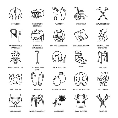 belly bandage: Orthopedic, trauma rehabilitation line icons. Crutches, orthopedics mattress pillow, cervical collar, walkers and other medical rehab goods. Health care thin linear signs for clinic and hospital.