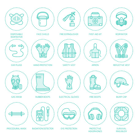 protective: Personal protective equipment line icons. Gas mask, ring buoy, respirator, bump cap, ear plugs and safety work garment. Health protection thin linear signs. Illustration
