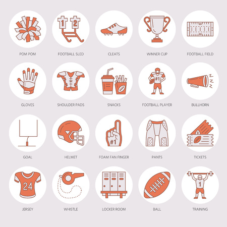 Vector line icons of american football game. Elements - ball, field, player, helmet, bullhorn.