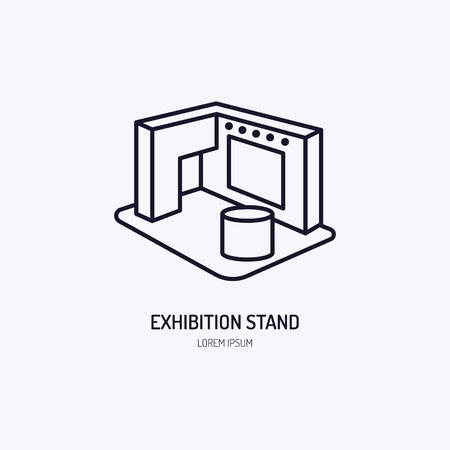 展示会バナー スタンド ベクトル線のアイコン。広告を登録します。  イラスト・ベクター素材