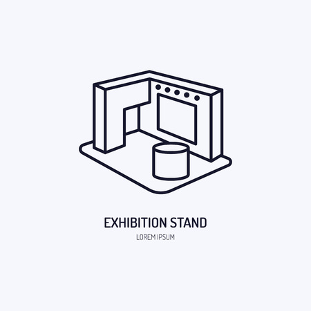 Exhibition banner stand vector line icon. Advertising sign. 矢量图像
