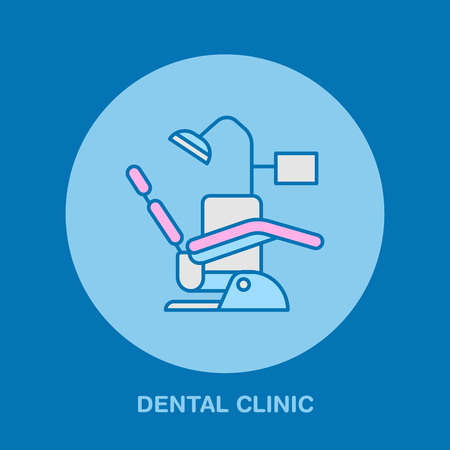Dentist chair, orthodontics line icon. Dental care equipment sign, medical elements. Health care thin linear symbol for dentistry clinic. Stock Illustratie