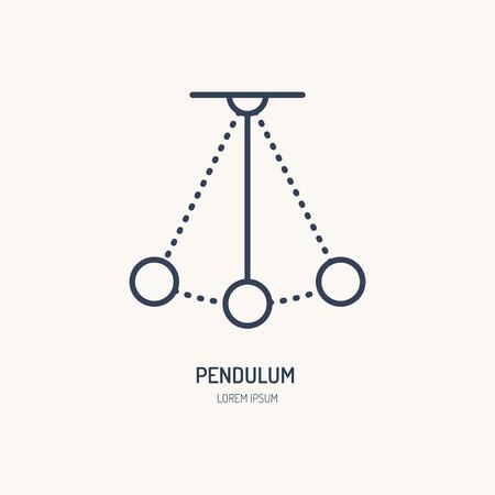 Eenvoudige pendulum vector lijn icoon. Fysica teken. Perpetuum mobiel logo. Stock Illustratie