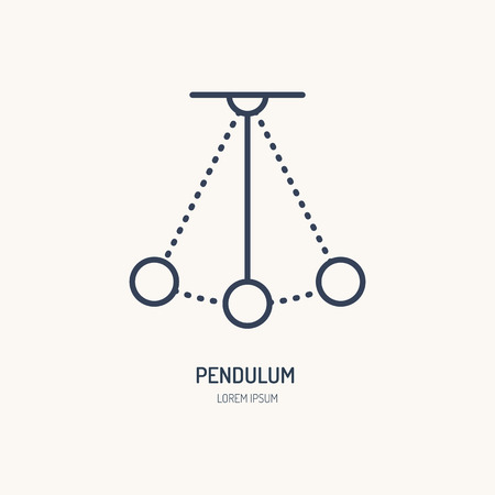 Simple pendulum vector line icon. Physics sign. Perpetuum mobile logo. Illustration